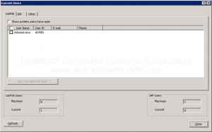 Sage 300 ERP current users window