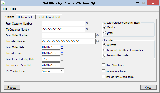 sage 300 create po from order entry