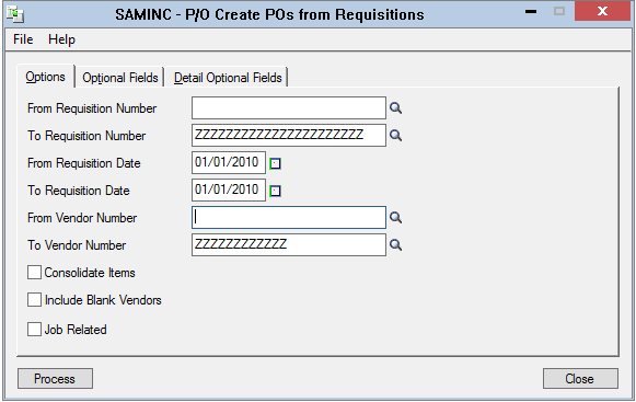 sage 300 create po from requisitions