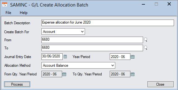 sage 300 allocation batch
